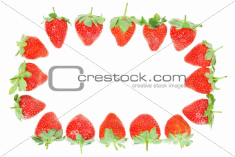 Frame of fresh red strawberries. On a white background.