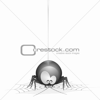 Cartoon Spider with cobweb
