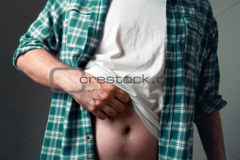 Man with a small belly