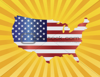 USA Flag in Map Silhouette Illustration