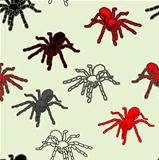 Halloween seamless pattern with black spiders 