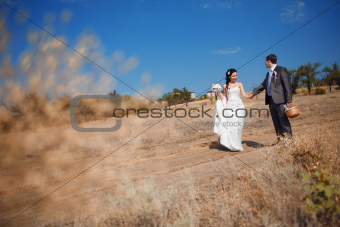bride and groom on the road