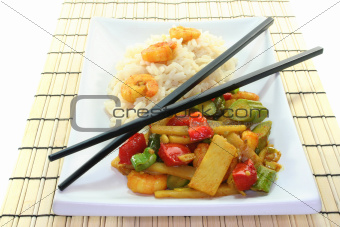 Rice with asian shrimp
