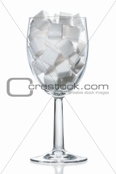 Wine glass of white sugar.