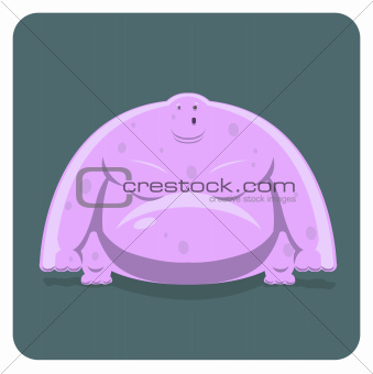 Vector illustration of funny pink monster