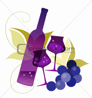 Bottle, wineglassses and grape