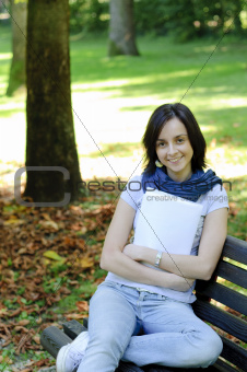 College student on a bench