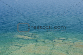 Transparent waters of Garda Lake, Italy