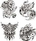Stylized roosters