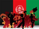 Afghanistan Sport Fan Crowd with Flag
