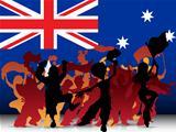 Australia Sport Fan Crowd with Flag