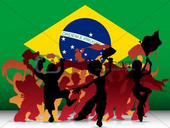Brazil Sport Fan Crowd with Flag