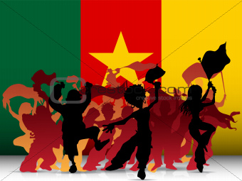 Cameroon Sport Fan Crowd with Flag