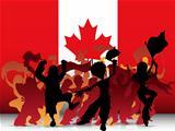 Canada Sport Fan Crowd with Flag