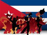 Cuba Sport Fan Crowd with Flag