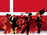 Denmark Sport Fan Crowd with Flag