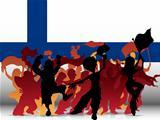 Finland Sport Fan Crowd with Flag