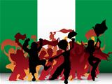 Nigeria Sport Fan Crowd with Flag