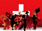 Switzerland Sport Fan Crowd with Flag