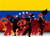 Venezuela Sport Fan Crowd with Flag