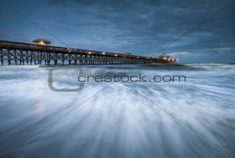 Moonlight Folly Beach Pier Charleston SC East Coast Atlantic Ocean