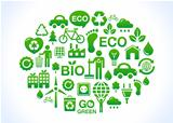 Eco world green icons set