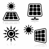 Solar panels, green power icons set
