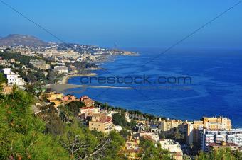 Aerial view of northern coastline of Malaga, Spain