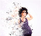 afro singer with colorfull splash