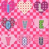 "Hearts with text ""I LOVE YOU"""