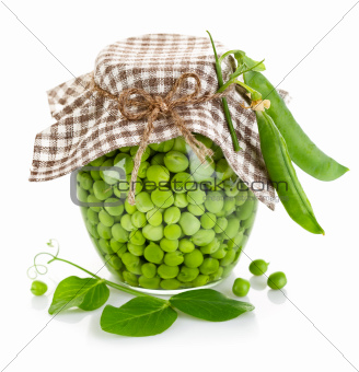 green peas in glass jar