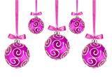 Pink Christmas balls with bows on white background