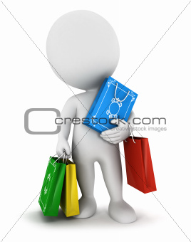 3d white people carries shopping bags