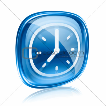 clock icon blue glass, isolated on white background