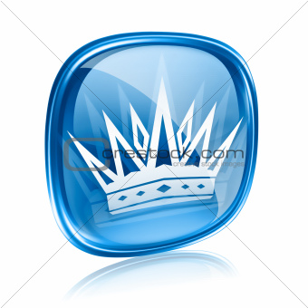 crown icon blue glass, isolated on white background.