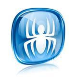 Virus icon blue glass, isolated on white background.