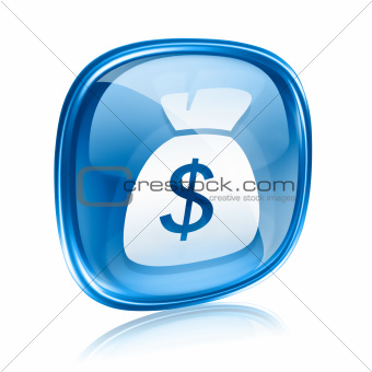 dollar icon blue glass, isolated on white background.