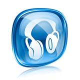 headphones icon blue glass, isolated on white background.