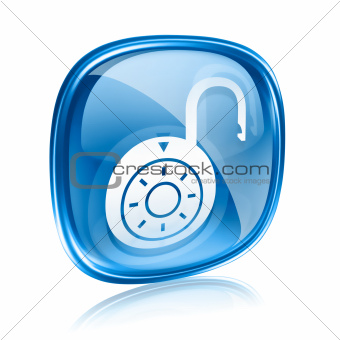 Lock on, icon blue glass, isolated on white background.
