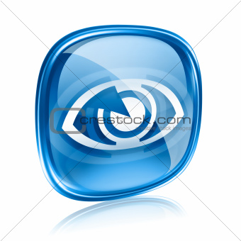 eye icon blue glass, isolated on white background.