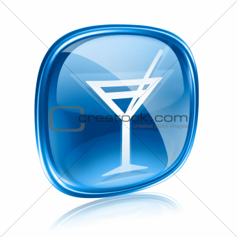 wine-glass icon blue glass, isolated on white background.