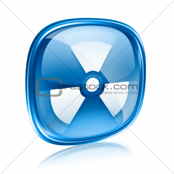 Radioactive icon blue glass, isolated on white background.