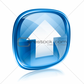 Upload icon blue glass, isolated on white background.