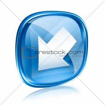 Arrow icon blue glass, isolated on white background