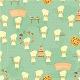 Seamless Food Background with Fun Chefs