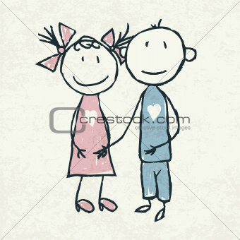 Couple in love. Doodles illustration, vector.