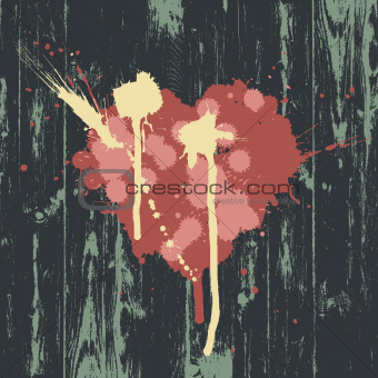 Heart symbol on wooden wall. Vector, EPS10