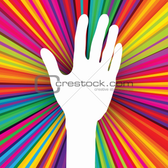 Hand silhouette on psychedelic colored abstract background.