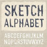 Hatching Alphabet Symbols Set. Vector, EPS 10.