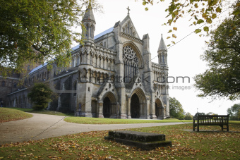 st albans cathedral england autumn